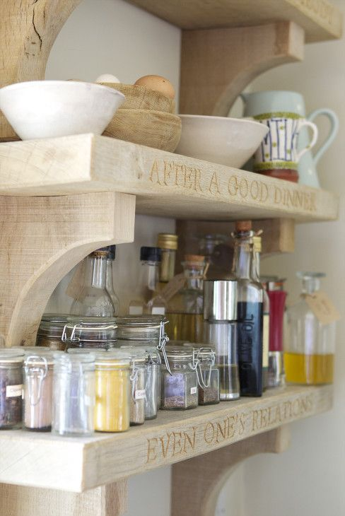 green oak shelves with words