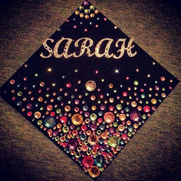 Luxury Rhinestone Graduation Cap. Make your graduation cap shining with these amazing sparkling rhinestones in various colors to give off a luxurious decor.