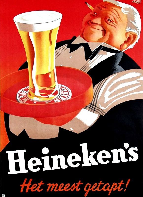 Heineken - vintage ad- heneken bier- heineken beer- dutch ad- The Netherlands Dutch beer in New Zealand - http://www.beerz.co.nz/tag/beer-from-netherlands/ #Dutch #beer #nzbeer #newzealand