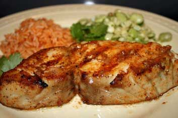 Grilled wahoo fish : Ono with Mojo de Ajo