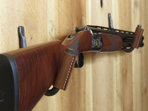 Wall Mount Gun Hooks Bark Leather Gun Racks Antique Gun