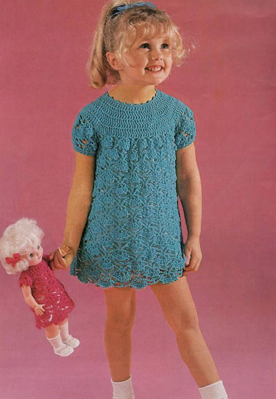 PDF Vintage Baby Girl Dress & Doll Clothes Crochet Pattern
