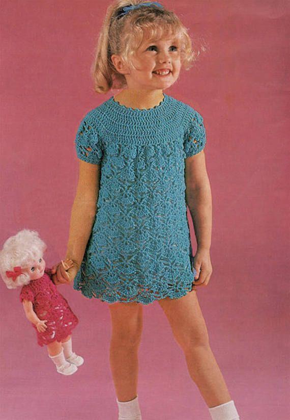 PDF Vintage Baby Girl Dress & Doll Clothes Crochet Pattern