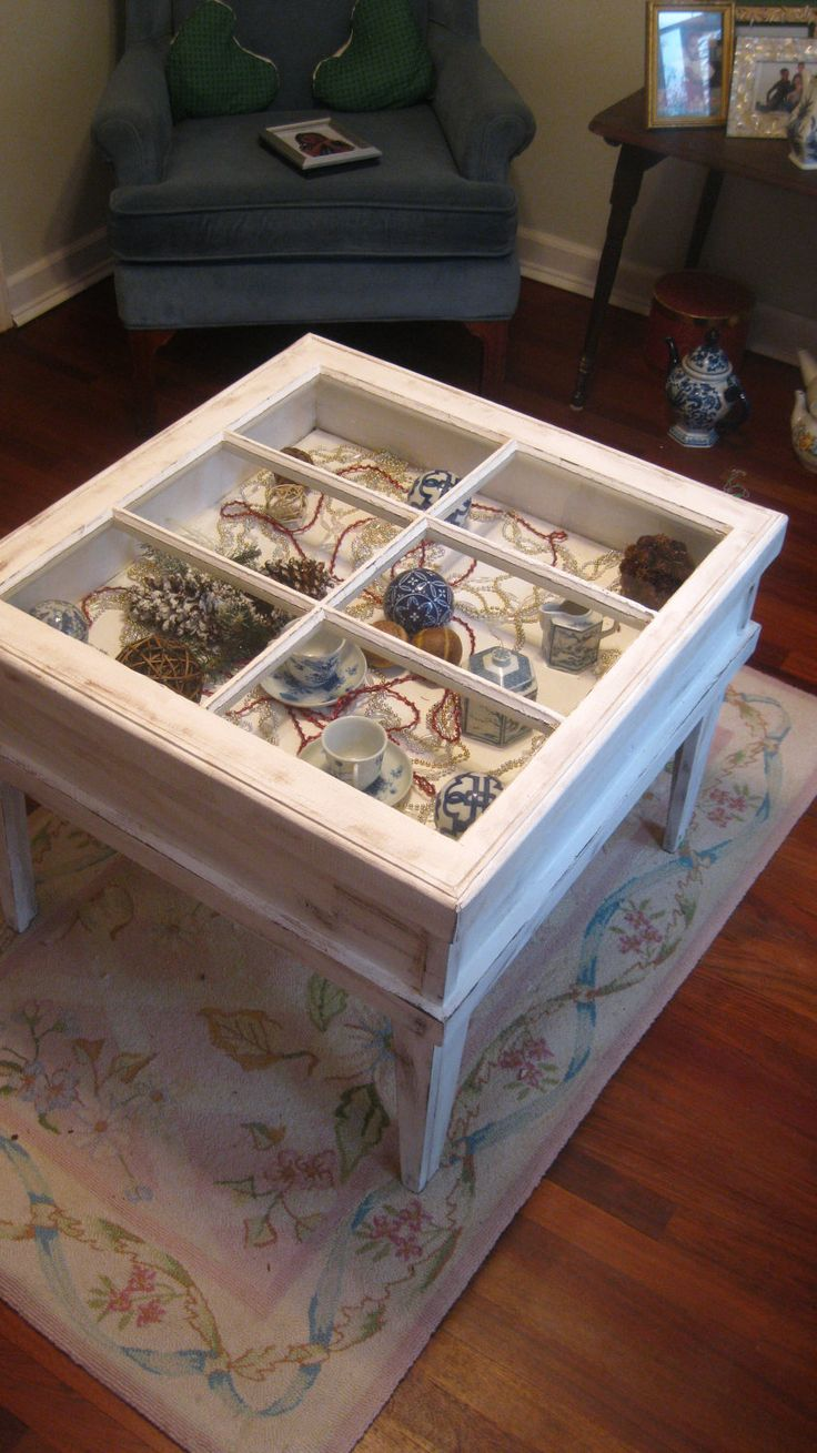 Shadow Box Table, Window Table, Reclaimed Window Table, Shabby Chic Window Table. $199.00, via Etsy.