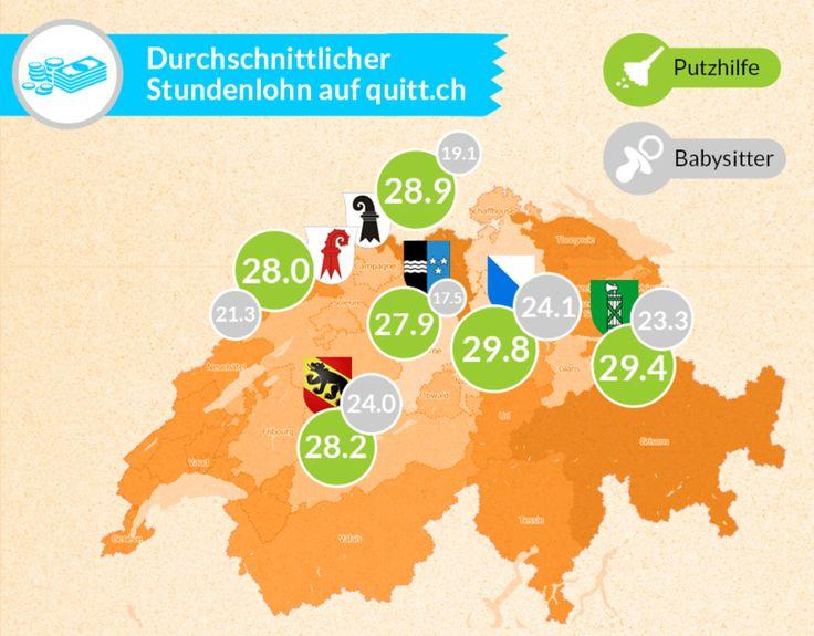 Durchschnittlicher Stundenlohn einer Haushaltshilfe nach Schweizer Kantonen #Putzfrau #Haushaltshilfe #Stundenlohn #Schweiz #quittch