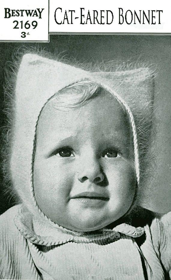 PDF Vintage 1950s  Baby Girls Cat Ear Bonnet Knitting Pattern