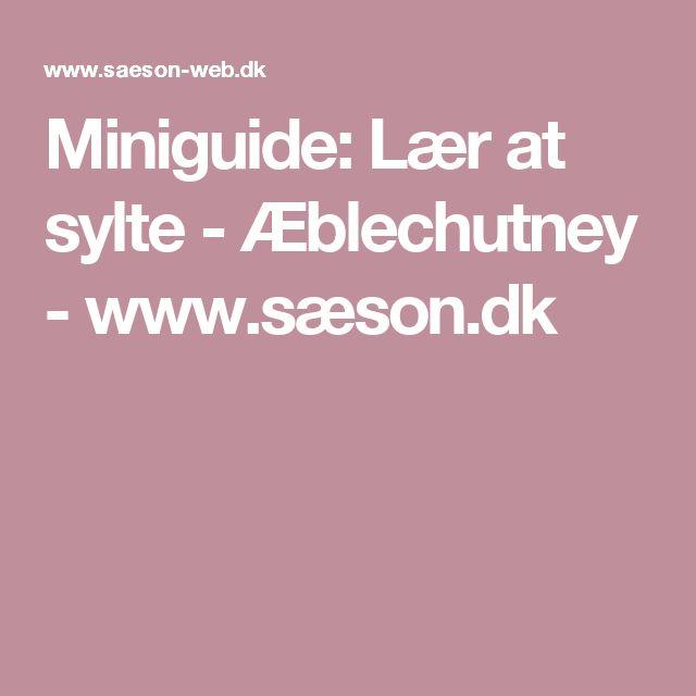 Miniguide: Lær at sylte - Æblechutney  - www.sæson.dk