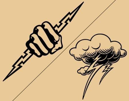 Cloud and hand lightning bolt tattoo designs