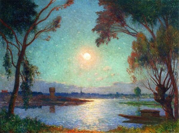 Ferdinand du Puigaudeau (1864-1930) 「Banks of the Loire in Moonlight」