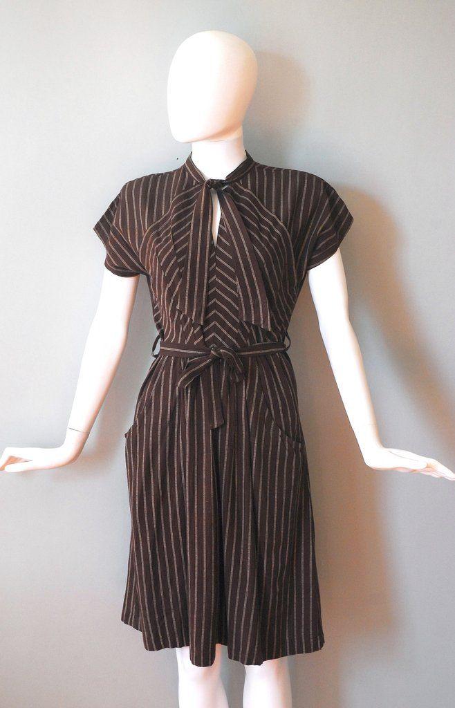 1940s Chevron Tie Dress