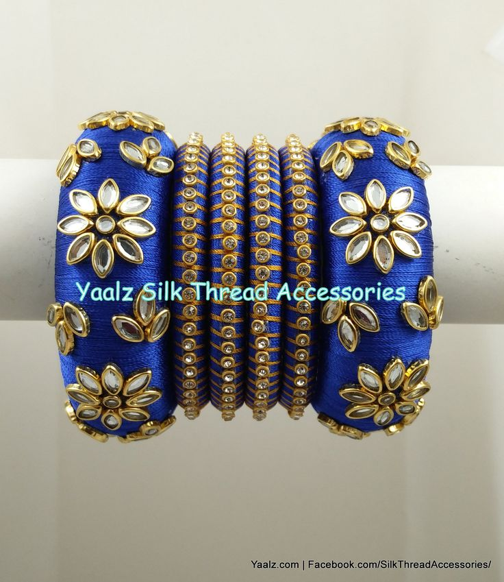 Yaalz Heavy Kundan Work Bangle Set In Royal Blue Color !! Price Rs.700 For Orders Ping us In WhatsApp +91 8754032250