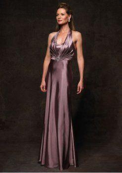 elastischem Satin mit Halfter und schlanken A-Linie Rock Mutter der Braut Kleid