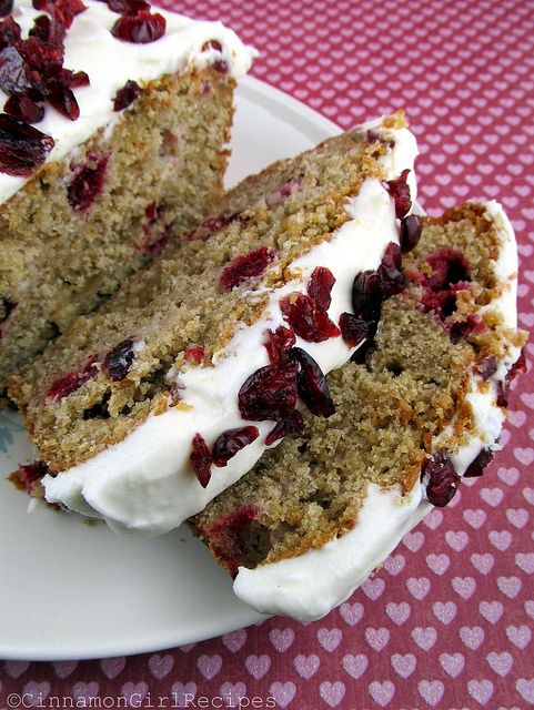 quick bread recipe - cranberry ginger white chocolate loaf with cream cheese frosting - pretty for gift giving