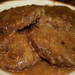 Hamburger Steak with Onion Gravy-- I made this with ground venison. It was very good. Great flavor! Made 10-26-13.