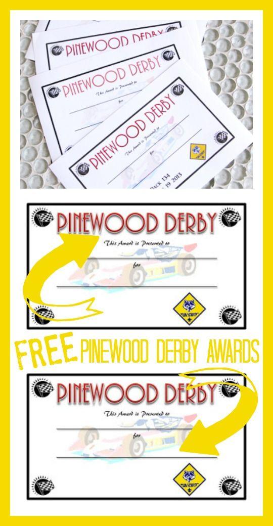 free pinewood derby award printable