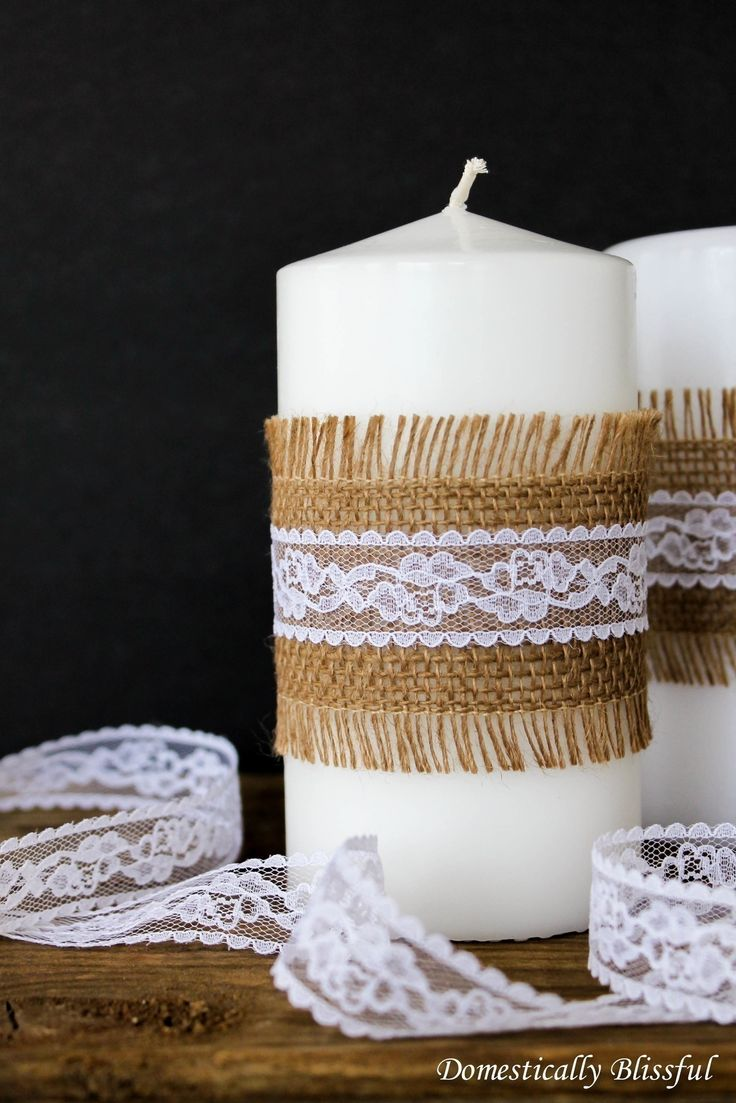 Simple Burlap And Lace Candles  •  Free tutorial with pictures on how to make a candle in under 30 minutes