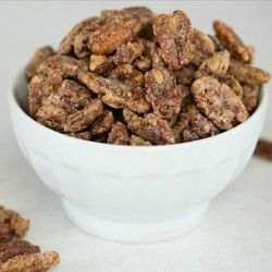 Cinnamon-Sugar Candied Pecans.  Love these tossed in a green salad with strawberries, apples, mango, etc. and some cheese: crumbled feta, goat or blue.