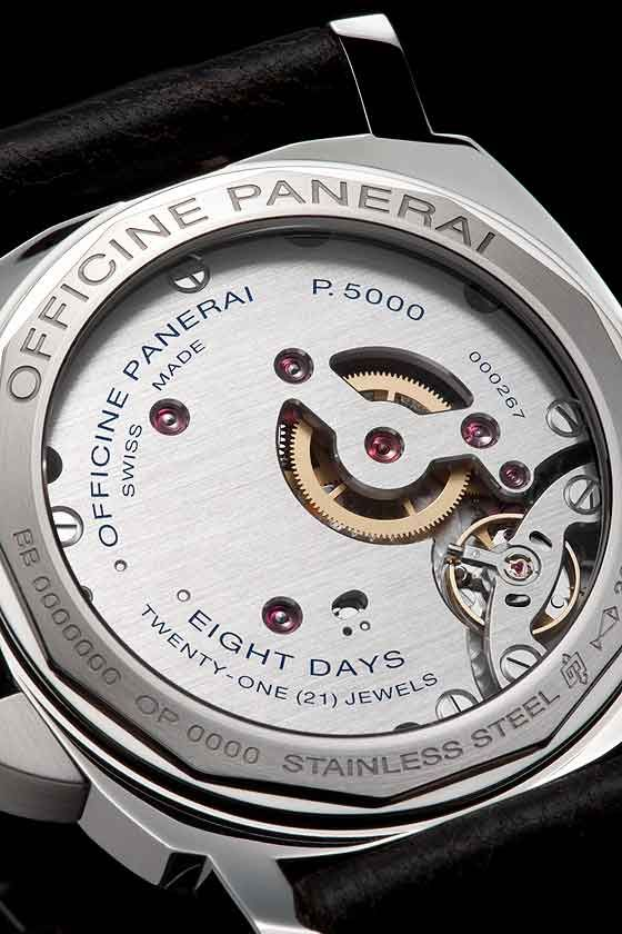 The huge plate of the P.5000 movement obscures most of the mechanism except for balance.