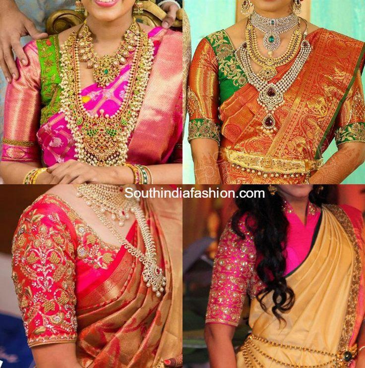 Elbow Length Sleeves Wedding Saree Blouse Designs, latest maggam work blouse designs