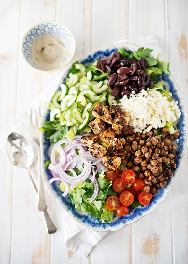 Chopped Salad with Spiced Chickpeas and Tarragon Tahini Dressing - Baked Bree