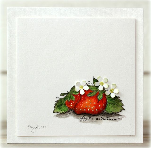 The challenge on Less is More´s blog this week is a Lucky dipShadow I used the sweet Strawberries from MagentaStrawberriesand created a shadow under them! Thanks!