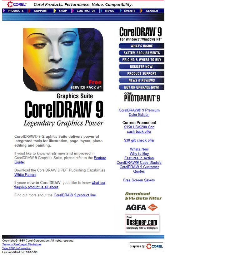 CorelDRAW website in 1999