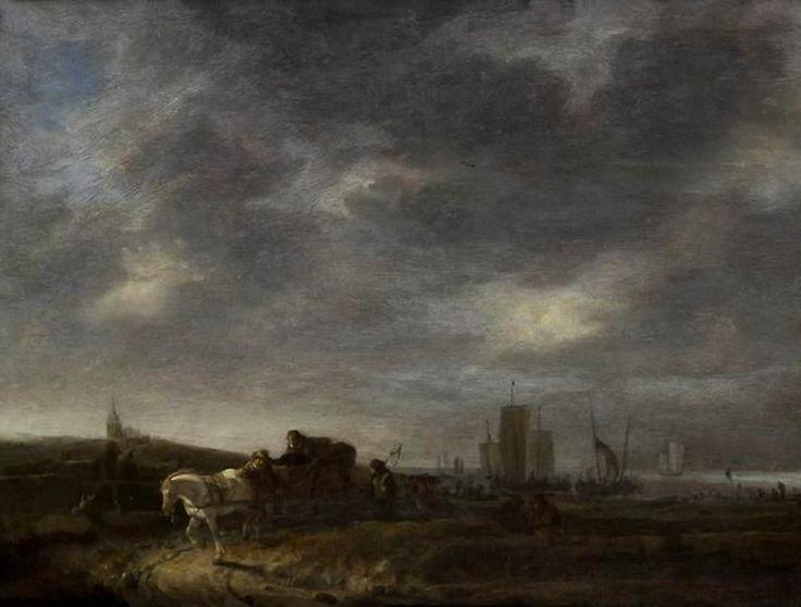 Egbert Lievensz van der Poel (1621-1664). De pinken liggen op het strand en een visser keert met zijn netten terug. Op de achtergrond is een kerk te zien. Het kan de kerk van Scheveningen zijn, maar het is niet duidelijk. (Coll. Culture.gouv.fr).