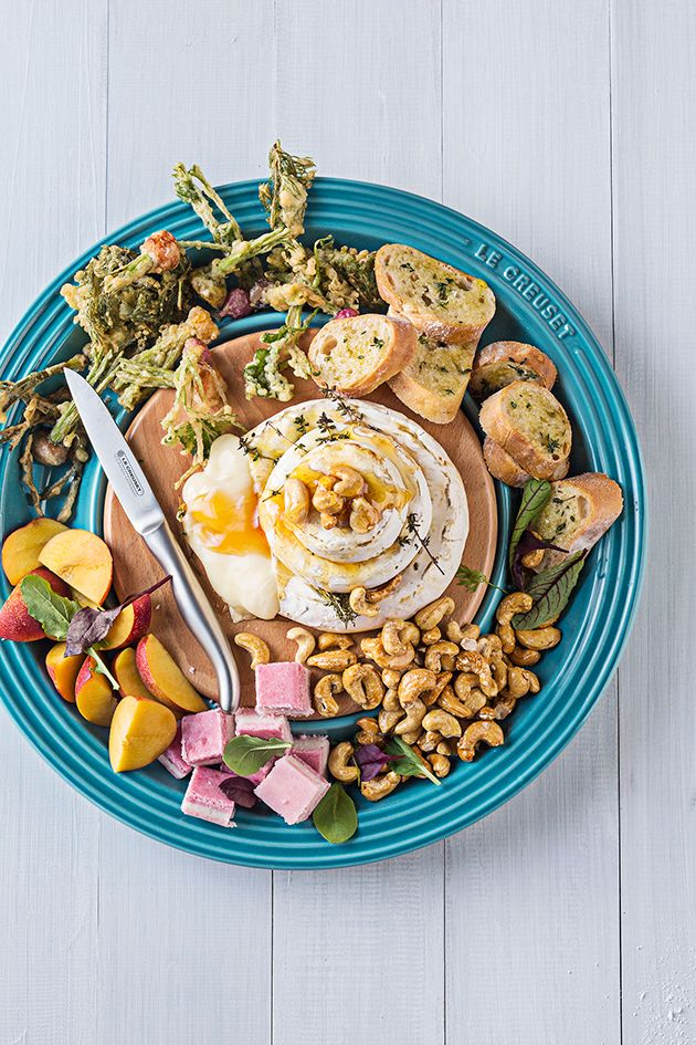 Baked Camembert with Honeyed Cashews and Fried Veggie Tops