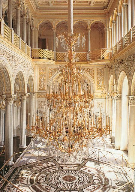 Chandelier in Pavilion Hall at the Hermitage Museum (formerly the Winter Palace) in St. Petersburg, Russia.