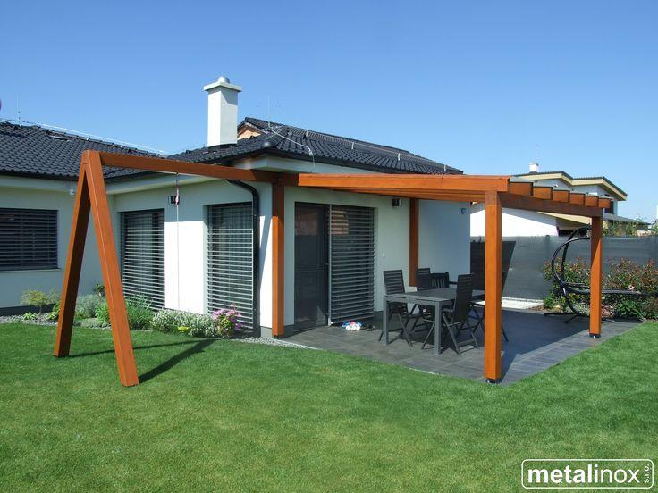 Drevený prístrešok klasik s krytinou mliečne sklo a konštrukciou na hojdačku/ Wooden shelter house with glass/Carport/Wooden pergola