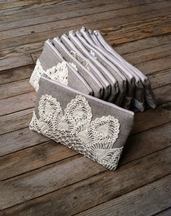 Set of 8 - Burlap Clutch Vintage Doily - Bridesmaid Gift - Rustic Wedding Gift Ideas - Vintage Wedding Party Gift