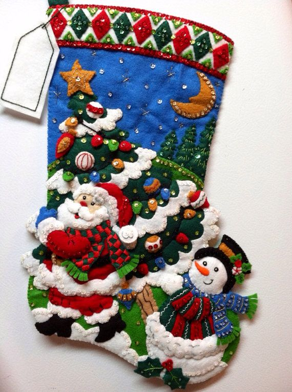 "18"" Completed Hand Sewn Bucilla Christmas Stocking Tree Shopping"