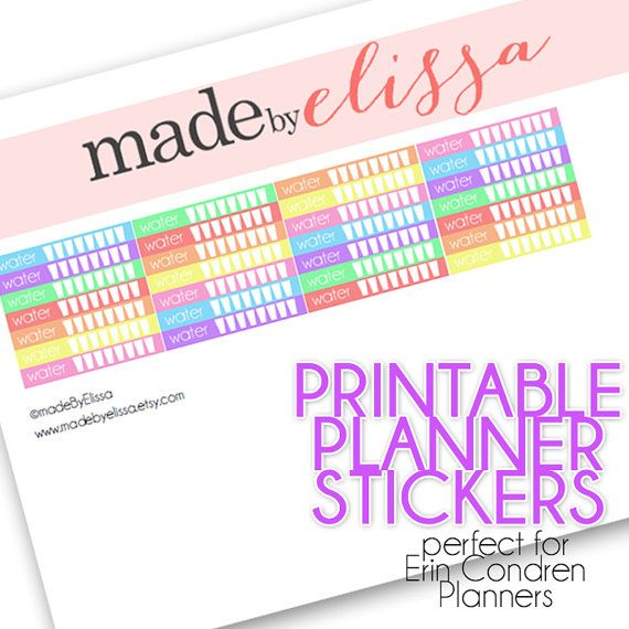 Printable WATER Planner Stickers - For Erin Condren Planners - {PDF FILE}