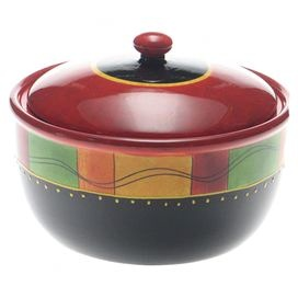 Stoneware pot hand-painted with a Southwestern stripe motif.  Product: Bean potConstruction Material: CeramicColor: MultiFeatures: Hand-paintedDimensions: 6.75 H x 10.75 DiameterCleaning and Care: Dishwasher and microwave safe