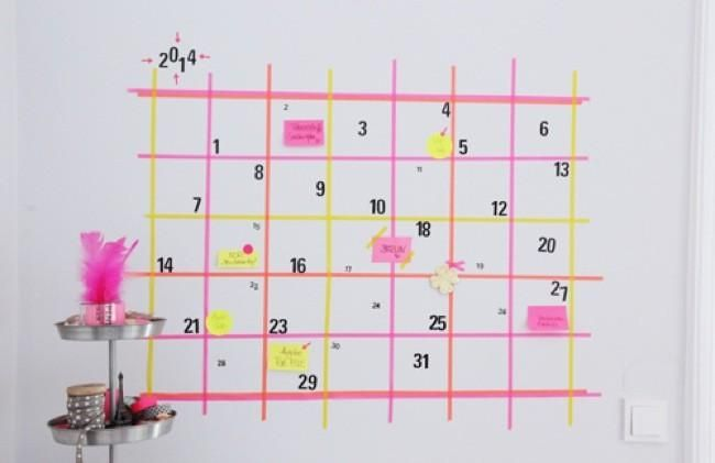 washi tape wall calendar #washitape