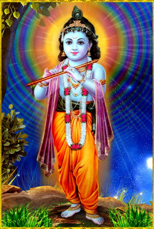 "✨ SHRI KRISHNA ✨""The Supreme Personality of Godhead acts through His material energy in the creation, maintenance and annihilation of this cosmic manifestation just to deliver the living entity by His compassion and stop the living entity's birth, death and duration of materialistic life. Thus He enables the living being to return home, back to Godhead.""~Srimad Bhagavatam 9.24.58"