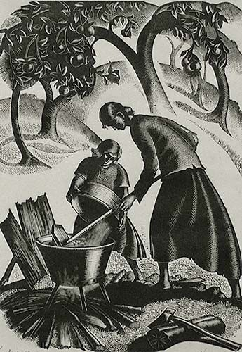 Apple Butter, Wood engraving, 1942 // by CLARE LEIGHTON, American (1899-1989).