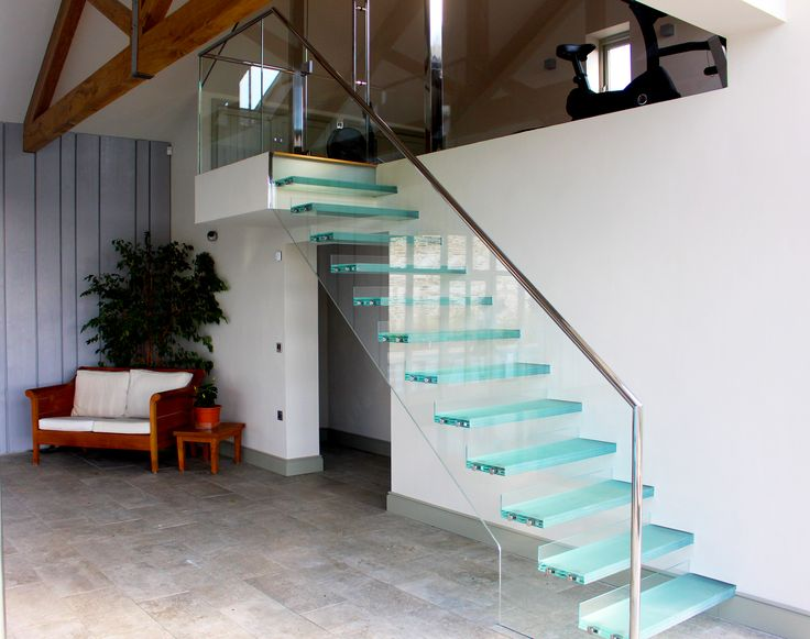 Glass Stairs with Led lighting