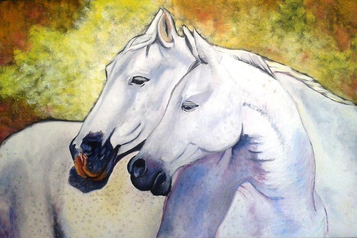 Gema Silva - Caballos blancos óleo sobre tela - 90 x 60 cms (réplica)