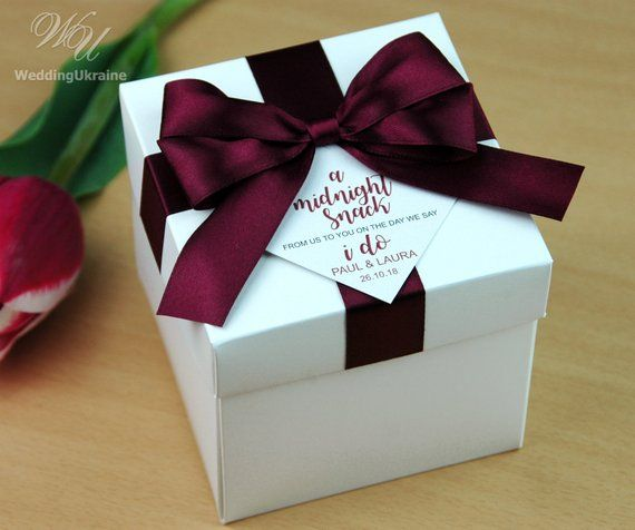 Wedding Favor Boxes With Wine Burgundy Satin Ribbon Bow And Custom