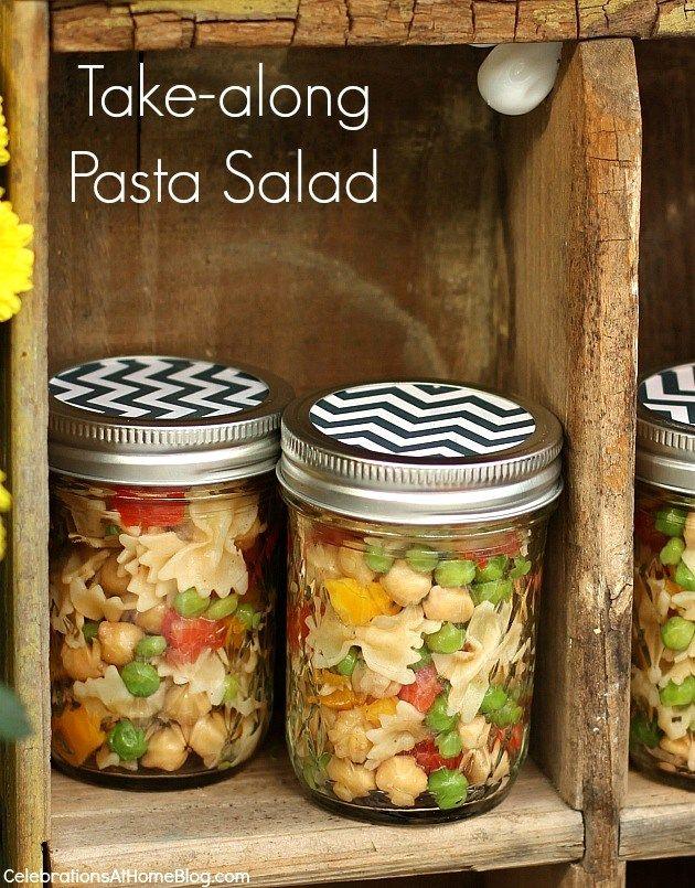 easy take-along pasta salad in jars (recipe) — Celebrations at Home
