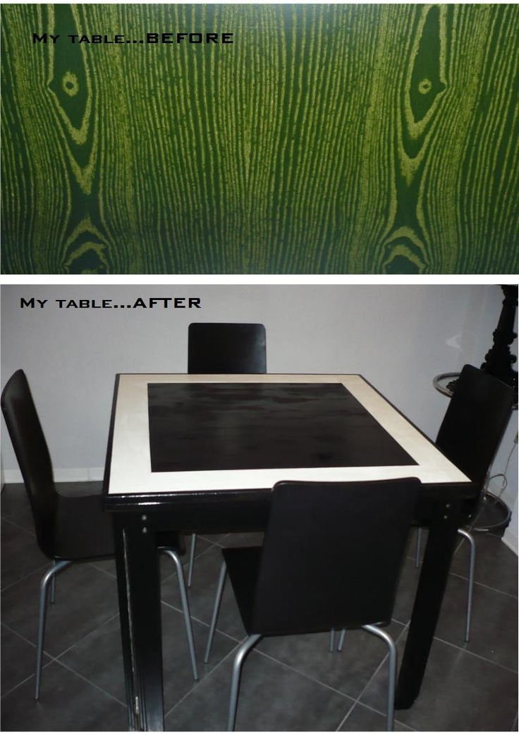 In my old living room, my table was all green. Now all the furniture is black and White, so I painted the table.