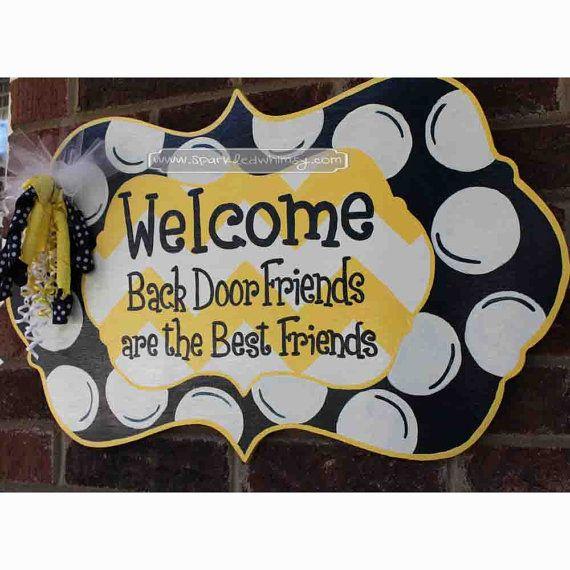 Back Door Friends Welcome Door Hanger Sign on Etsy, $40.00