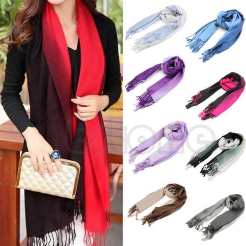 Women-Long-Pashmina-Stole-Tassels-Winter-Gradient-Color-Wool-Scarf-Shawl-Wrap