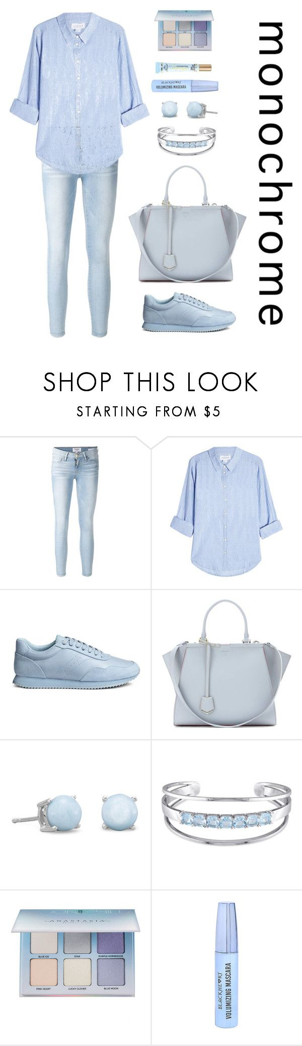 """One Color, Head to Toe"" by vale14m ❤ liked on Polyvore featuring Frame, Velvet, Fendi, Catherine Malandrino, Anastasia Beverly Hills, Too Faced Cosmetics, monochrome and ice"