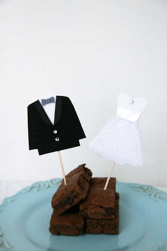 Bride and Groom Cake Topper Wedding Cupcake Toppers by AnnaandSam, $10.50