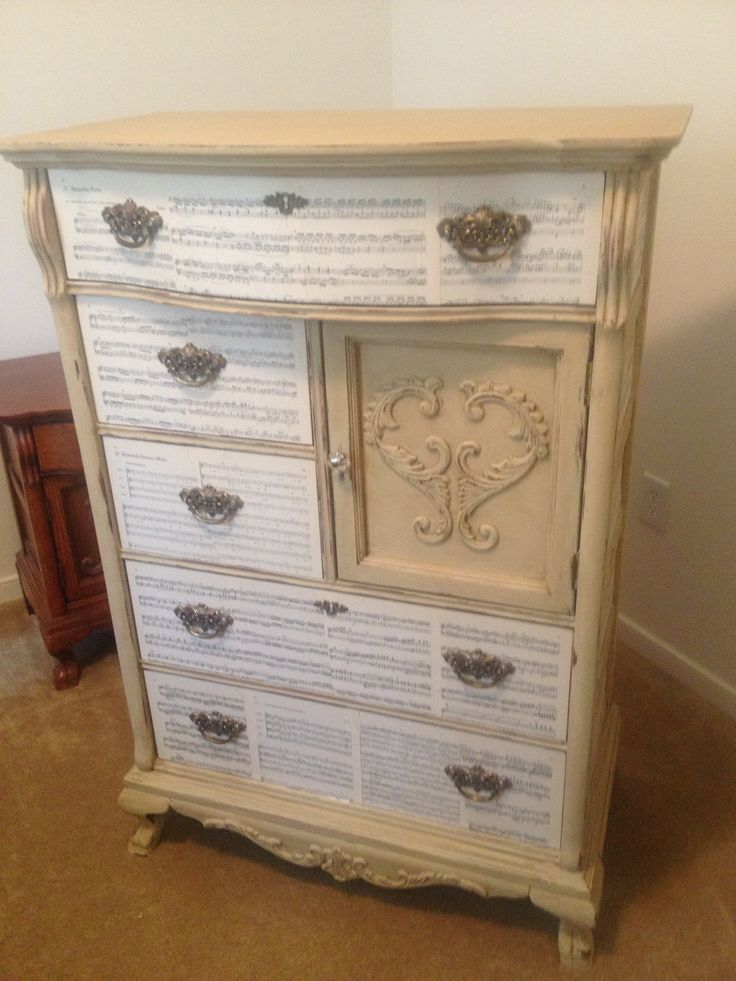 Custom dresser with sheet music