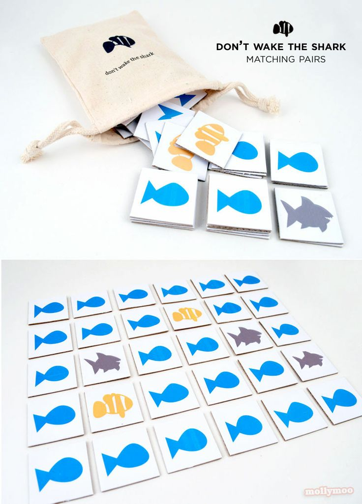 """""""Don't Wake The Shark"""" - DIY Matching Pairs Game, with a twist....  The race is on to find the missing clown fish… but don't wake the shark, or he will eat up your turn…   MollyMooCrafts.com"""