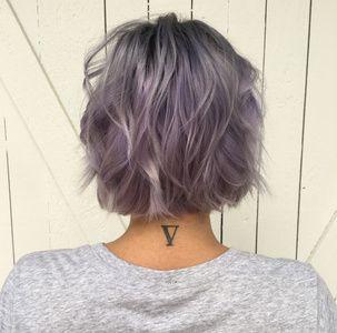 Blunt Cut   Short Hair   Lavender Hair   Beach Waves  