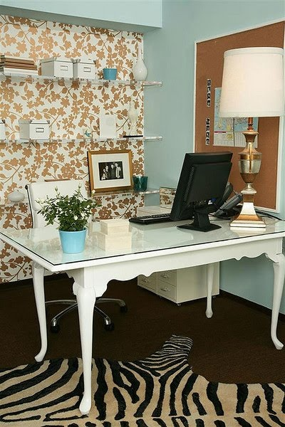 Duck egg blue and copper decor office.